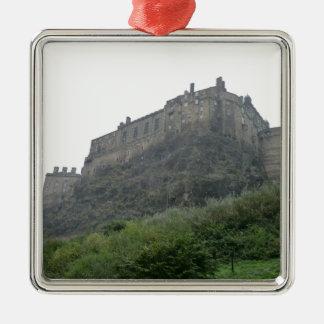 Edinburgh Castle in the Mist Square Metal Christmas Ornament