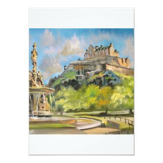 Edinburgh castle oil painting Gordon Bruce art 5x7 Paper Invitation Card
