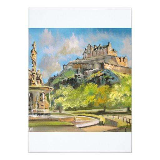 Edinburgh castle oil painting Gordon Bruce art Custom Announcements