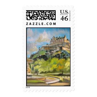 Edinburgh castle oil painting Gordon Bruce art Stamps
