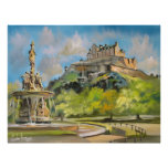 Edinburgh castle oil painting Gordon Bruce art Print