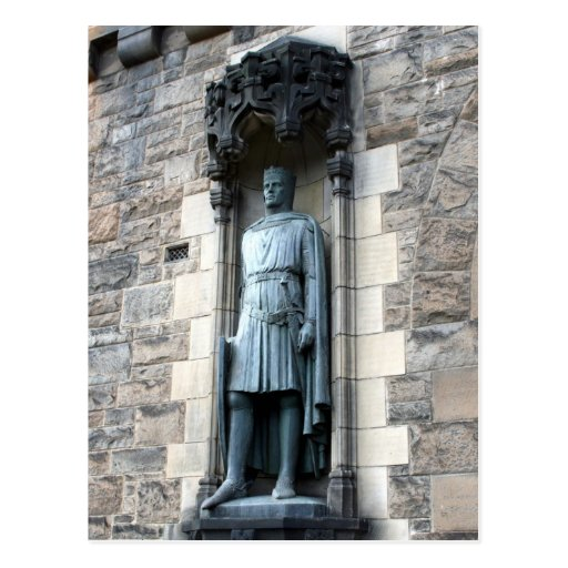 edinburgh castle statue postcard