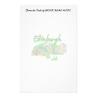 edinburgh city green travel vacation image png personalized stationery