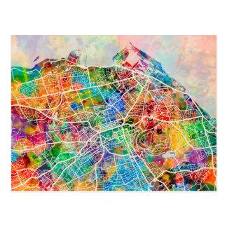 Edinburgh City Street Map Postcard