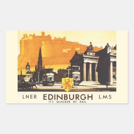 Edinburgh LNER Fine Vintage Travel Poster Rectangular Sticker