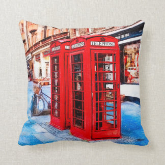 Edinburgh Royal Mile British Phone Boxes Throw Pillow