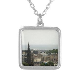 Edinburgh Skyline 001 Square Pendant Necklace