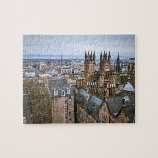 Edinburgh skyline from roof top, areal view, Edinb Jigsaw Puzzle
