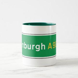 Edinburgh, UK Road Sign Two-Tone Coffee Mug