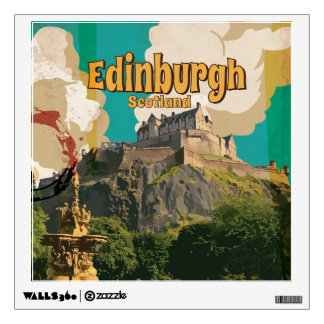 Edinburgh Vintage Travel Poster Wall Sticker