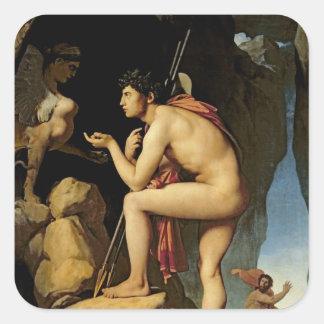 Edipo y la esfinge, 1808 pegatina cuadrada