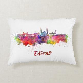 Edirne skyline in watercolor decorative pillow
