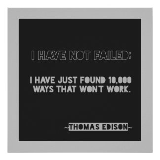 Edison 10,000 ways Encouragement Typography Quote Poster