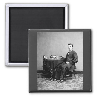 Edison and His Phonograph 1887 2 Inch Square Magnet