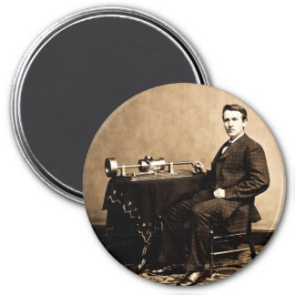 Edison and His Phonograph 1887 3 Inch Round Magnet