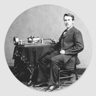 Edison and His Phonograph 1887 Classic Round Sticker