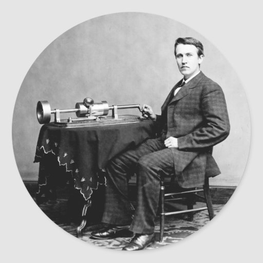 Edison and His Phonograph 1887 Round Stickers
