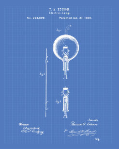 Electrical blueprint art framed artwork zazzle edison electric lamp 1880 patent art blueprint poster malvernweather Images