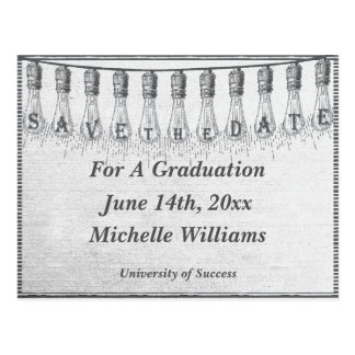 Edison Light Bulb Graduation Save The Date Postcard