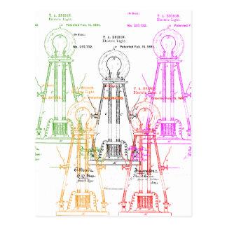 Edison light bulb postcard