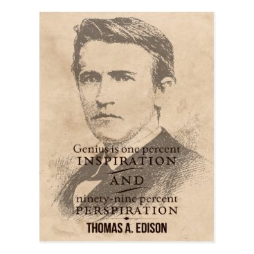 wordstolivebydesign Edison on Genius Motivational/Inspirational Quote Postcard