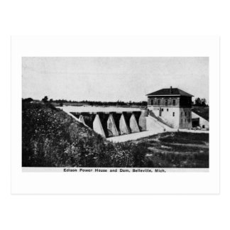 Edison Power House and Dam Belleville, Michigan Postcard