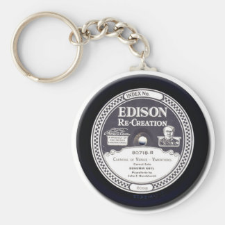EDISON Re-Creation Record Basic Round Button Keychain