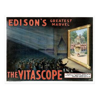 Edison The Vitascope 1896 Restored Vintage Poster Postcard