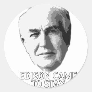 Edison vino permanecer pegatina redonda