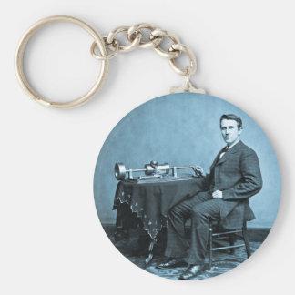 Edison y su fonógrafo 1887 llavero redondo tipo pin