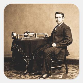 Edison y su fonógrafo 1887 pegatina cuadrada