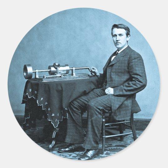Edison y su fonógrafo 1887 pegatina redonda