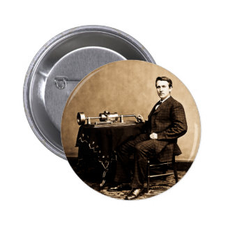 Edison y su fonógrafo 1887 pin redondo 5 cm