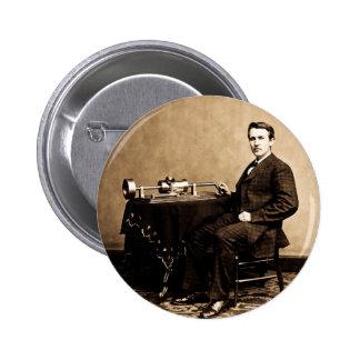 Edison y su fonógrafo 1887 pin redondo de 2 pulgadas