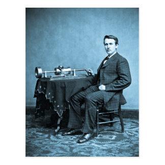Edison y su fonógrafo 1887 postal