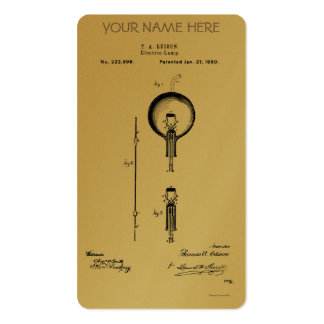 EDISON's ELECTRIC LAMP PATENT - Circa 1880 Business Card