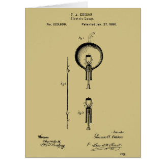 EDISON's ELECTRIC LAMP PATENT - Circa 1880 Card