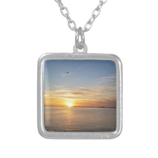 Edisto sunset. silver plated necklace