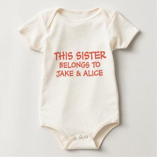 Edit siblings names on their baby Sister's Baby Bodysuit