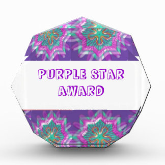 Edit Text : Purple Star Designs n Text Type Face Acrylic Award