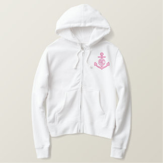 Edit Your Nautical Monogram Anchor 123 Characters Embroidered Hoodie