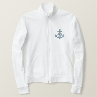 Edit Your Nautical Monogram Anchor 123 Characters Embroidered Jacket