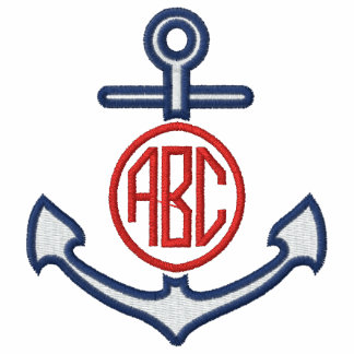 Edit Your Nautical Monogram Anchor 123 Characters Embroidered Polo Shirts
