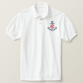 Edit Your Nautical Monogram Anchor 123 Characters Polo Shirt