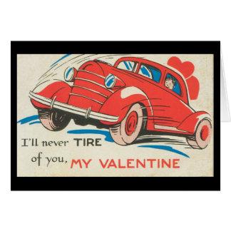 Editable 1950u0026#39;s Vintage Red Classic Car Valentine Card