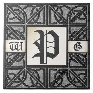 "Editable 3 Initial ""Celtic Grey Stone"" Tile"