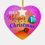 (Editable) Baby's First 1st Christmas Ceramic Ornament