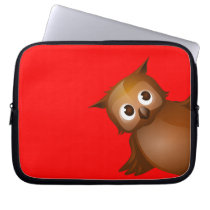 Editable Background Color - Cute Brown Owl Computer Sleeve