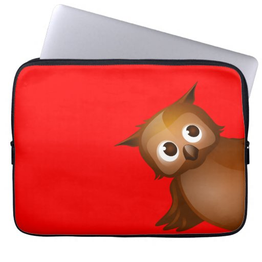 Editable Background Color - Cute Brown Owl Laptop Computer Sleeve