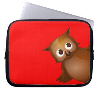 Editable Background Color - Cute Brown Owl Laptop Sleeves